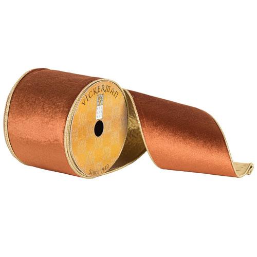 Copper Plush Velvet Gold Edge Ribbon, Ten Yards