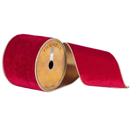 Deep Red Plush Velvet Gold Ribbon, Ten Yards