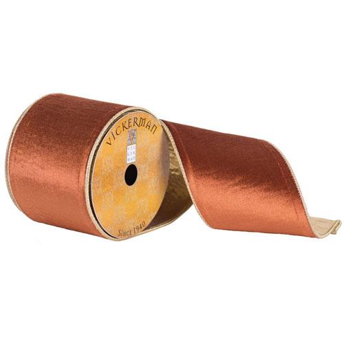 Copper Flat Velvet Gold Edge Ribbon, Ten Yards
