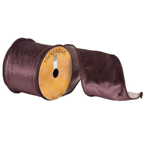 Chocolate Plush Velvet Ribbon, Ten Yards