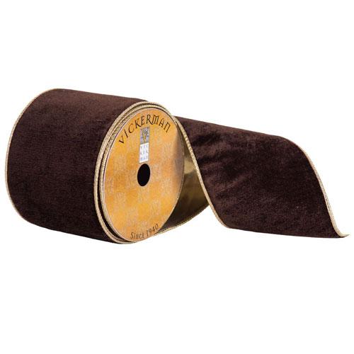 Vickerman Chocolate Plush Velvet Gold Edge Ribbon, Ten Yards