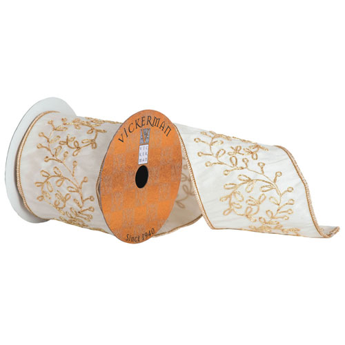 Ivory and Gold Embroidered Vine Gold Edge Ribbon, Five Yards
