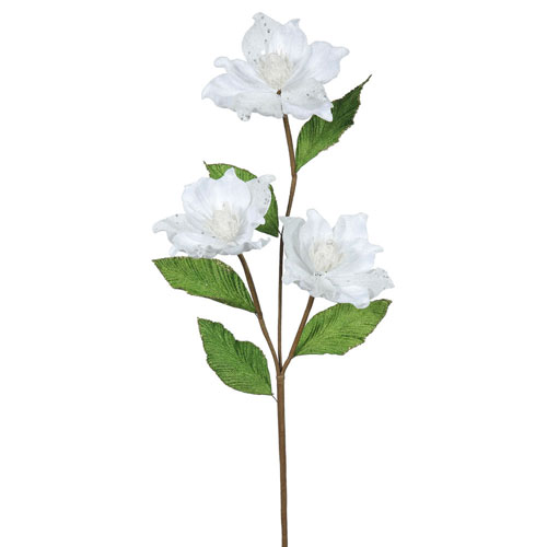Vickerman White Magnolia Flower, Set of Six