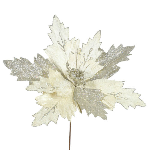Champagne Poinsettia Flower, Set of Six