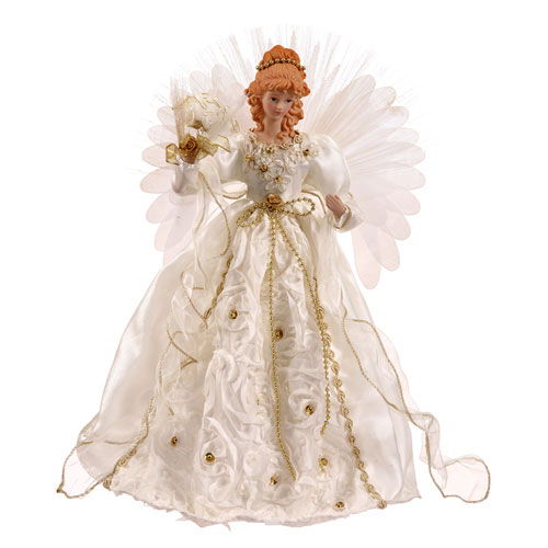 White and Gold 18-Inch Angel Tree Topper with Fiber Optic Wings