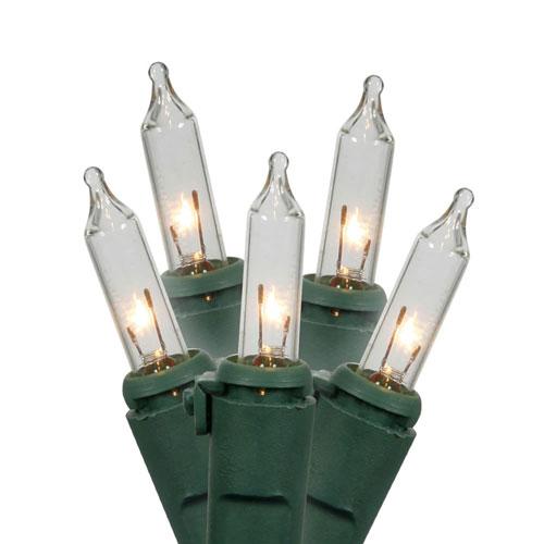 Clear Green Wire Light Set 50 Lights