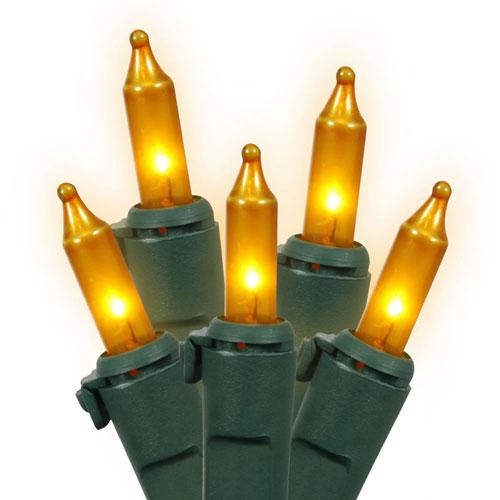 Vickerman Gold Dura-Lit Green Wire Light Set 50 Lights