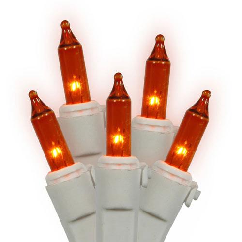 Amber White Wire Light Set 100 Lights
