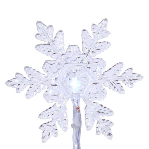 Pure White 20 Light LED Snowflake Set 6-inch spacing