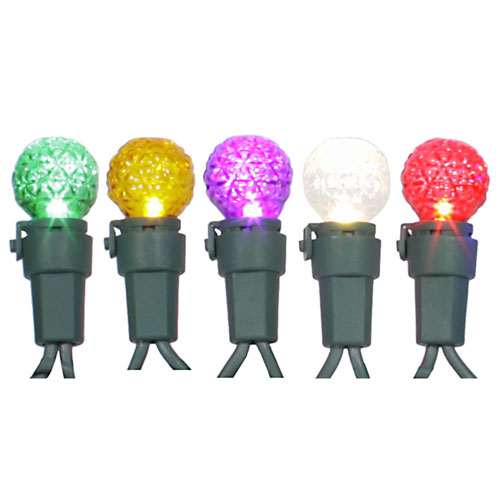Multicolor Faceted LED Light Set with 50 Lights