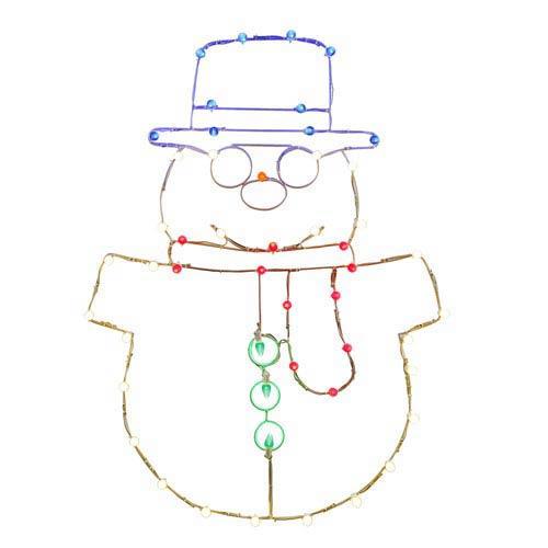 Multicolor LED Snowman Wire Motif