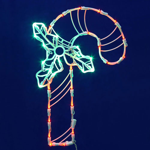 Red and White LED Candy Cane Window Decor
