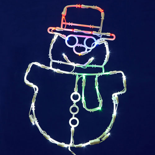 White LED Snowman Window Decor