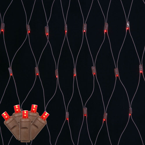 Red 2 Foot x 8 Foot LED Wide Angle Net Light Set with 150 Lights