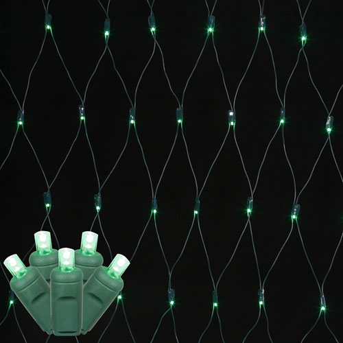 Green 4 Foot x 6 Foot LED Wide Angle Net Light Set with 120 Lights