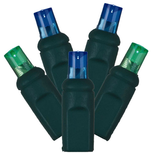 Blue and Green LED Light Set with 50 Lights