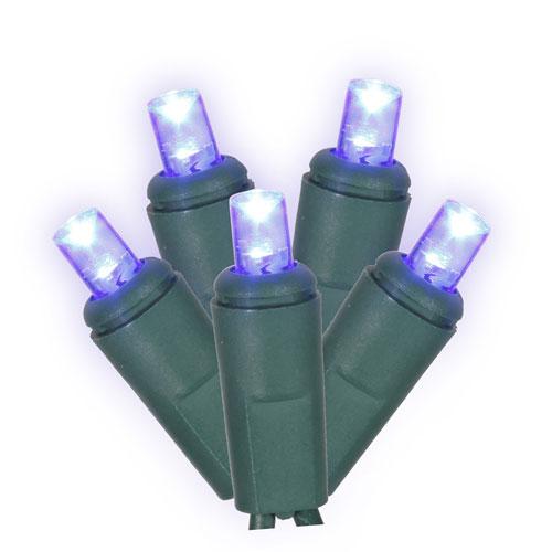 Blue 25 Foot LED Wide Angle Twinkle Light Set with 50 Lights