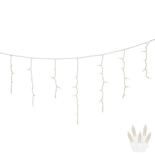 Warm White 9 Foot LED Twinkle Icicle Light Set with 70 Lights