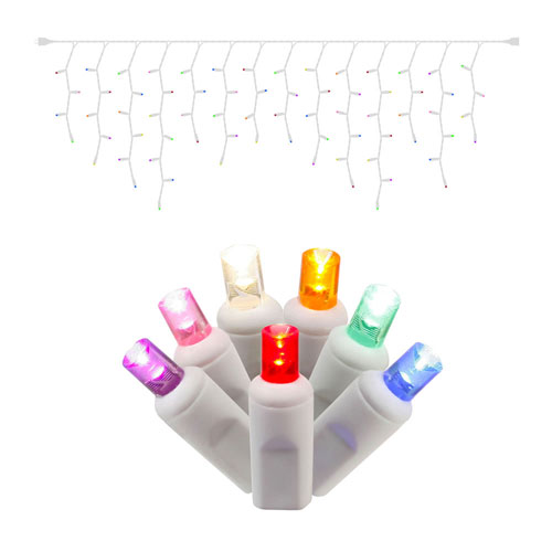 70 Light LED Multicolor Wide Angle Icicle Lights