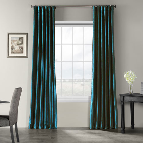 Ocean Blue 108 x 50 In. Vintage Textured Faux Dupioni Silk Curtain Single Panel