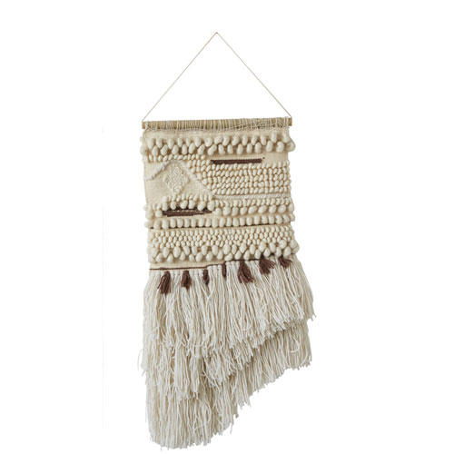 Cream and Brown Wool and Cotton Hand-Woven Wall Hanging