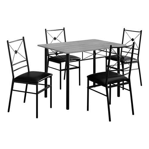 Gray and Black 28-Inch Dining Set, 5 Pieces