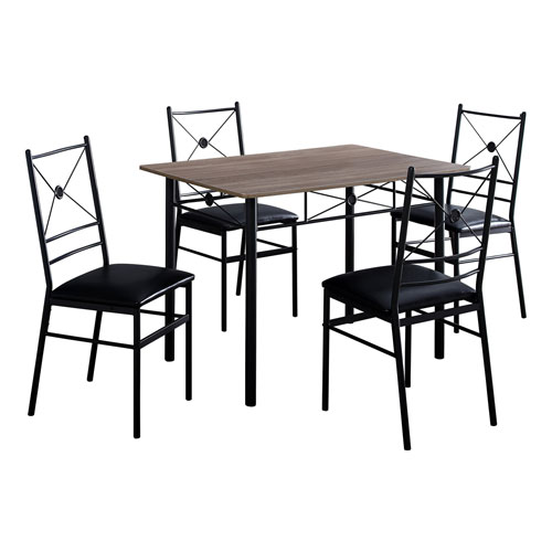 Dark Taupe and Black 28-Inch Dining Set, 5 Pieces