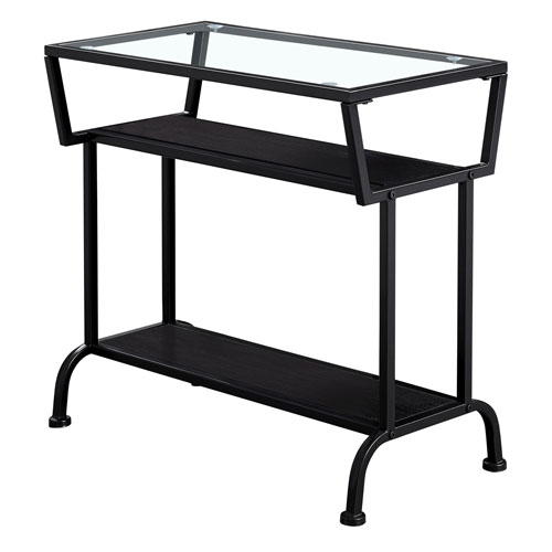 Cappuccino and Black 12-Inch Accent Table with Tempered Glass Top