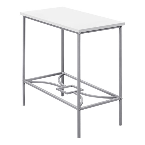 White and Silver 12-Inch Accent Table
