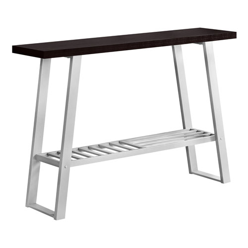 Cappuccino and Silver 12-Inch Console Table