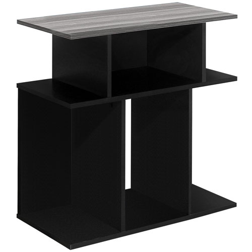 Black and Gray 12-Inch Accent Table with Seven Open Shelves