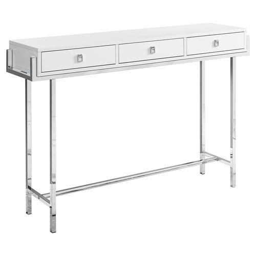 Glossy White and Chrome 12-Inch Accent Table