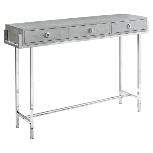 Gray and Chrome 12-Inch Accent Table