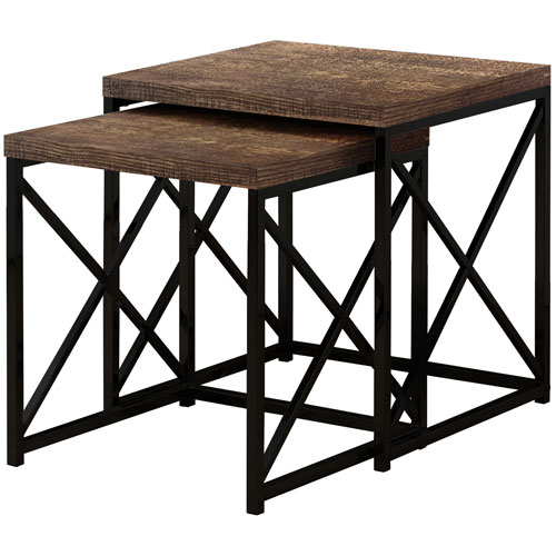 Brown 20-Inch Nesting Table, 2 Pieces