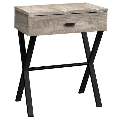 Taupe and Black 12-Inch Accent Table with X Base Legs