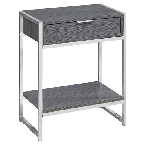 Black and Chrome 13-Inch Accent Table with Open Shelf
