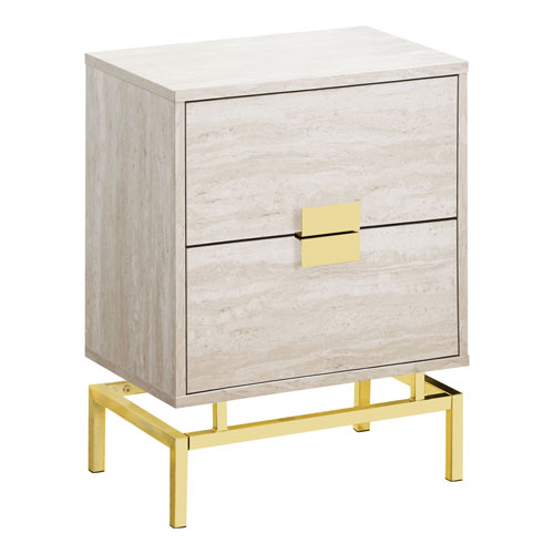 Beige and Gold 13-Inch Accent Table