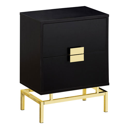 Cappuccino and Gold 13-Inch Accent Table with Two Drawers
