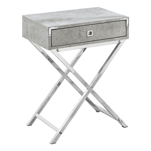 Gray and Chrome 12-Inch Accent Table with X Base Legs