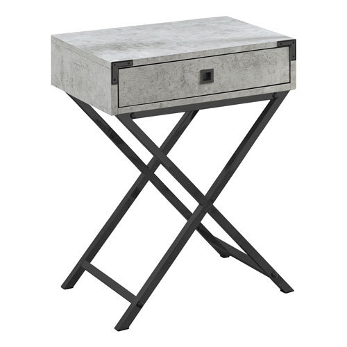 Gray and Black Nickel 12-Inch Accent Table