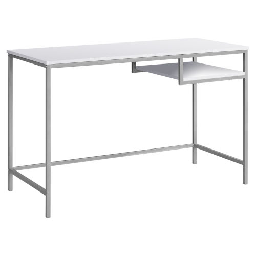 White and Silver 22-Inch Computer Desk with Open Shelf