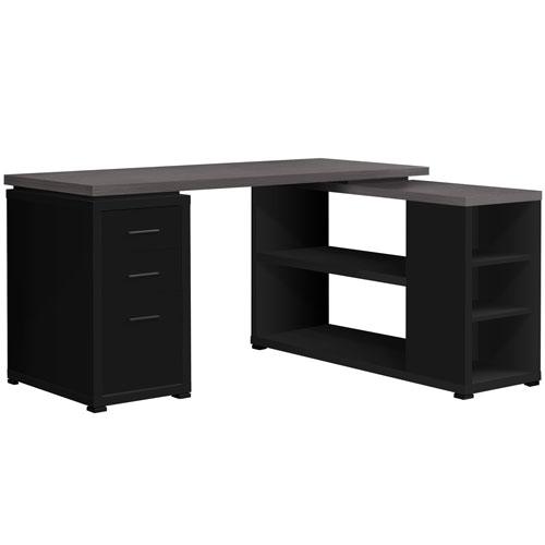 Black and Gray 47-Inch Computer Desk