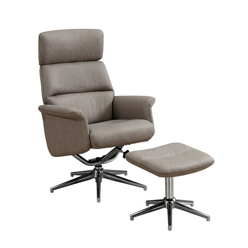 Taupe 29-Inch Reclining Chair, 2 Pieces