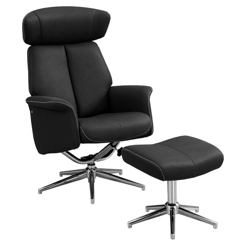 Black 29-Inch Reclining Chair, 2 Pieces