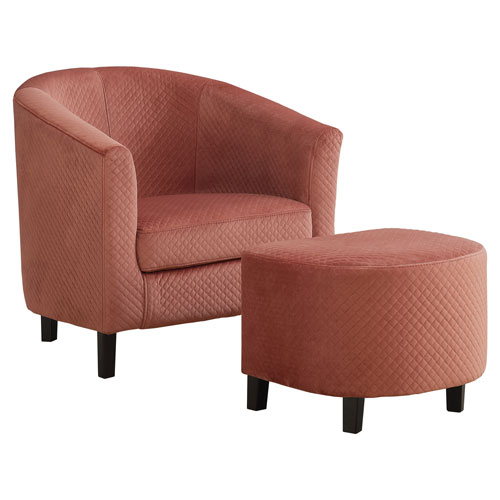 Dusty Rose 30-Inch Quilted Fabric Accent Chair, 2 Pieces