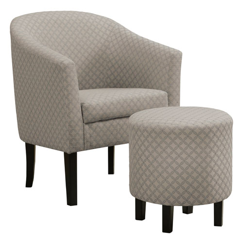 Light Gray 33-Inch Geometric Fabric Accent Chair, 2 Pieces