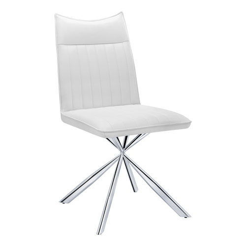 White and Chrome Dining Chair, Set of 2