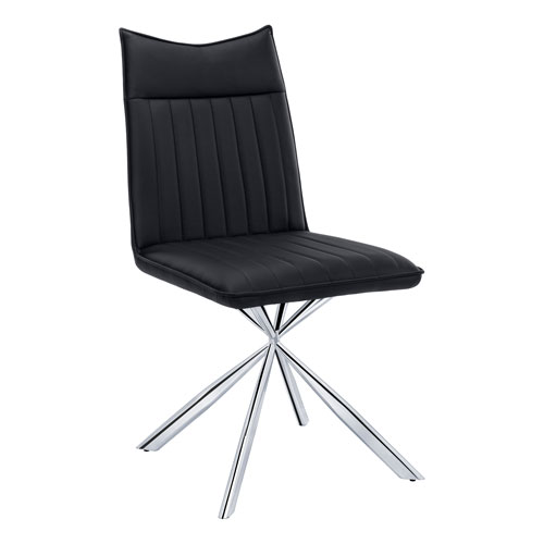 Black and Chrome Dining Chair, Set of 2