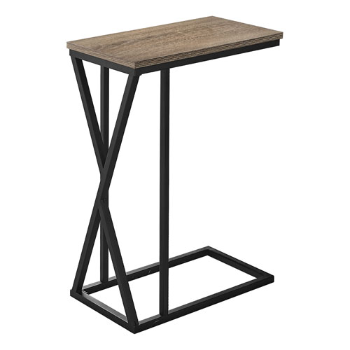 Dark Taupe and Black Rectangle End Table