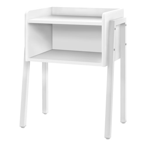 White End Table with Open Shelf